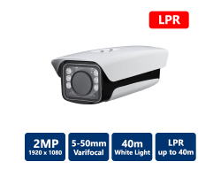 2MP Full HD True WDR White Light License Plate Camera, 5-50mm Varifocal