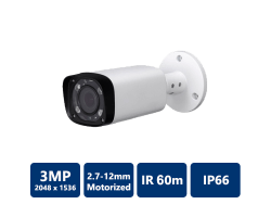 3MP IP 60m IR Motorized Bullet Camera, 2.7-12mm Motorized Lens