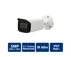 5MP True WDR IR Bullet IP Camera, 2.7-13.5 motorized lens