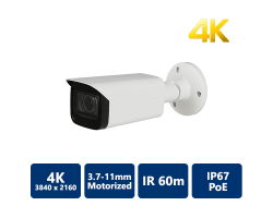 4K H.265 True WDR IR IP Bullet, 3.7~11mm Motorized