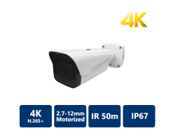 8MP H.265+ 50m IR IP Bullet, 2.7-11mm Motorized