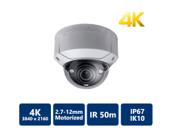 4K H.265 50m IR IP Dome, 2.7mm ~12mm Motorized