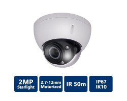 2MP Starlight HDCVI IR Dome Camera, 2.7-12mm