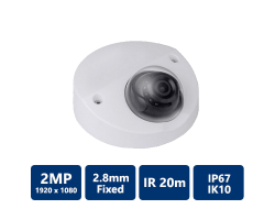 2MP True WDR CVI IR Fixed Dome Camera, 2.8mm