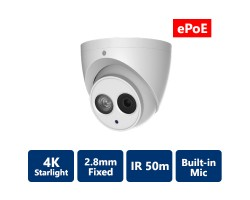 4K StarLight true WDR IR IP ePoE Turret Camera, 2.8 mm Fixed Lens