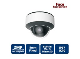2MP AI Facial Recognition Vandal Dome, 8mm Fixed Lens