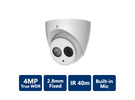 4MP True WDR IR IP Fixed Turret, 2.8mm Fixed Lens