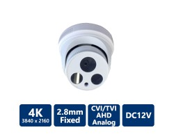 4-IN-1 4K Ultra HD Turret, White, 2.8mm Fixed Lens