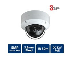 EYEONET 5MP IP IR Water-resistant Vandal Dome, 3.6mm fixed