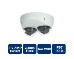 2x2MP Starlight True WDR IR IP Mini Dome