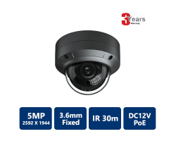 EYEONET 5MP IP IR Water-resistant Vandal Dome, 3.6mm fixed Grey