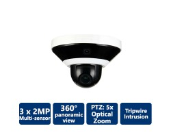 3x2MP Multi-Sensor IP 360° Fixed Camera + PTZ Camera