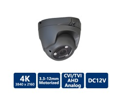 4K 4-In-1 Ultra HD Turret, 3.3-12mm Motorized Lens, Grey