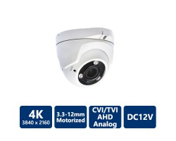 4K 4-In-1 Ultra HD Turret, 3.3-12mm Motorized Lens, White