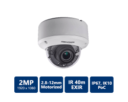 Hikvision 2MP Ultra Low-Light PoC Indoor Dome, 2.8-12mm motorized