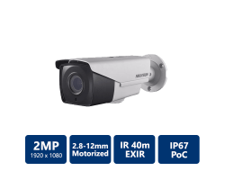 Hikvision 2MP Ultra Low-Light PoC Bullet, 2.8-12mm motorized lens