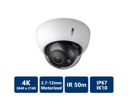 8MP Full HD WDR Vandal-proof IR Network Dome Camera, 2.7-12mm
