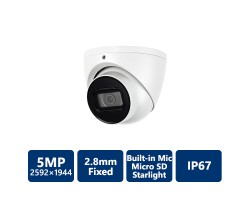 5MP Starlight True WDR IR Eyeball IP Camera, DH OEM, White