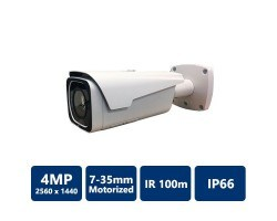 4MP WDR IR Bullet Network Camera, 7-35mm Motorized Lens