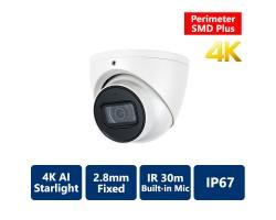 4K AI Perimeter & SMD+ Starlight True WDR IR IP Turret, 2.8mm Fixed