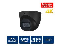 4K AI Perimeter & SMD+ Starlight True WDR IR IP Turret, 2.8mm Fixed, Black