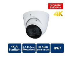 4K AI Perimeter & SMD+ Starlight True WDR 50m IR IP, 2.7-13.5mm Motorized, Turret Camera