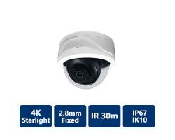4K Starlight True WDR IR IP, 2.8mm Fixed, Vandal Dome Camera