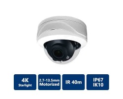 4K Starlight True WDR IP IR Motorized, Vandal Dome Camera