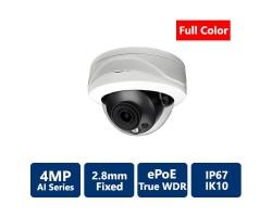 4MP Full Color True WDR IP AI, 2.8mm Fixed, Vandal Dome Camera