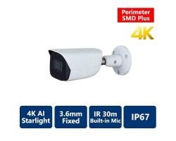 4K AI Perimeter & SMD+ Starlight True WDR IR IP, 3.6mm Fixed, Bullet Camera
