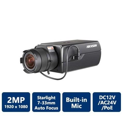 Hikvision DS-2CD6026FHWD-A7 2 Megapixel Ultra Low-Light Network Box Camera, 7-33mm Lens