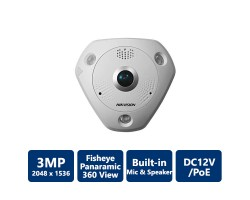 Hikvision DS-2CD6332FWD-IV 3MP WDR Fisheye Network Camera, Outdoor