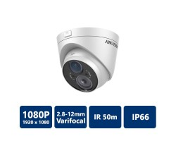 Hikvision DS-2CE56D5T-VFIT3 HD1080P WDR Vari-focal EXIR Turret Camera, 2.8-12mm