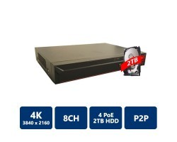 8 Channel Compact 1U 4PoE 4K&H.265 Lite Network Video Recorder, 2T