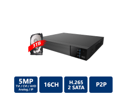 EYEONET 16CH 5MP 5-In-1 HDVR, 3TB Pre-Installed