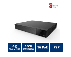 EYEONET 16CH 16PoE 4K Real Time NVR, 2 SATA HDD