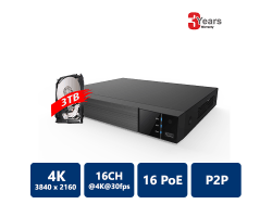 EYEONET 16CH 16PoE 4K Real Time NVR, 2 SATA HDD, 3TB HDD Pre-Installed