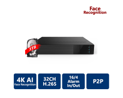 EYEONET 32CH 4K AI Face Recognition NVR, 3T HDD