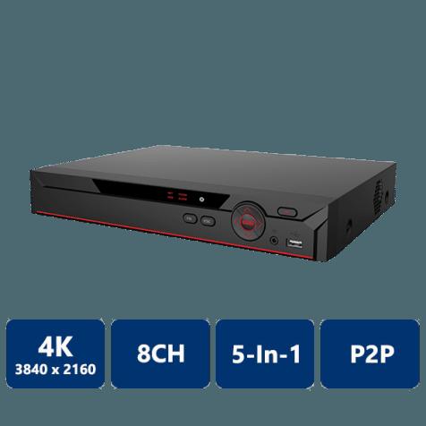8 Channel Penta-Brid 4K Compact 1U Digital Video Recorder