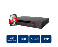 8 Channel Penta-brid 4K Compact 1U Digital Video Recorder, 2TB Pre-installed
