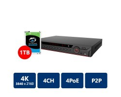 4 Channel 4 POE Port 4K H.265 NVR Video Recorder