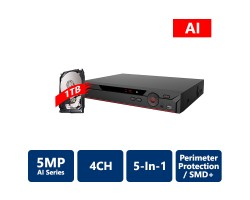 4 Channels Penta-Brid 5MP Mini 1U Digital Video Recorder with 1TB HDD