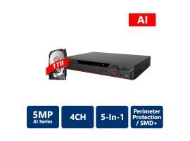4 Channels Penta-Brid 5MP Mini 1U Digital Video Recorder with 1TB HDD