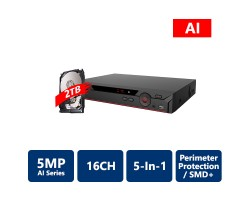 16 Channel Penta-brid 5MP Mini 1U Digital Video Recorder with 1TB HDD