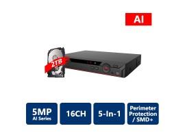 16 Channel Penta-brid 5MP Mini 1U Digital Video Recorder with 1TB HDD