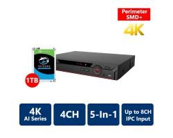 4CH AI Penta-brid 4K Mini 1U XVR, with 1TB HDD (XV51A04H-4KL-I2-1TB)