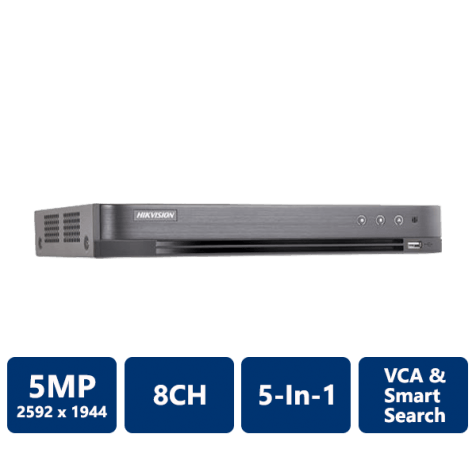 Hikvision 5MP All-In-1 H.265+ TurboHD DVR, 8CH