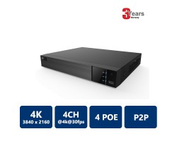 EYEONET NVR-63104-4P 4CH 4 PoE 4K Real Time NVR