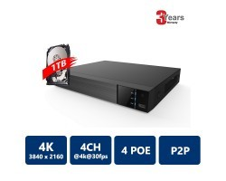 EYEONET NVR-63104-4P-1T 4CH 4PoE 4K Real Time NVR, 1TB HDD pre-installed