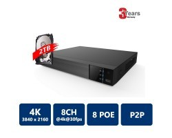 EYEONET NVR-63108-8P 8CH 8PoE 4K Real Time NVR, 2TB HDD pre-installed
